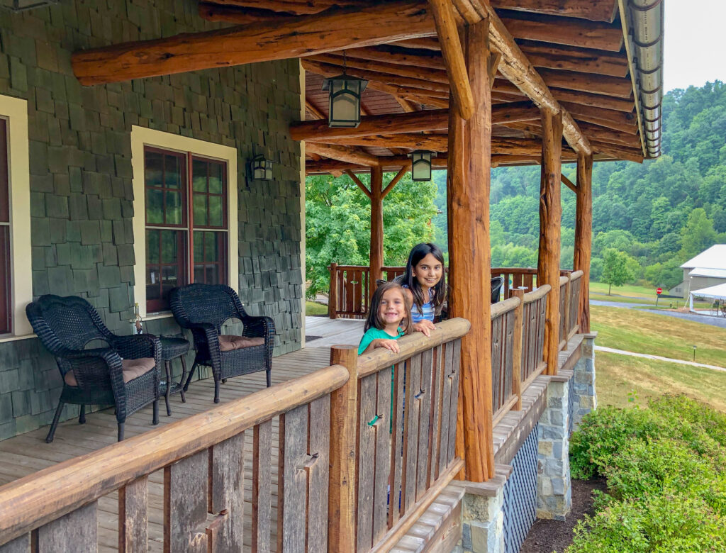 My kids on the front porch of our family cabin at Homewaters in Spruce Creek, PA. Homewaters is a private fly fishing club