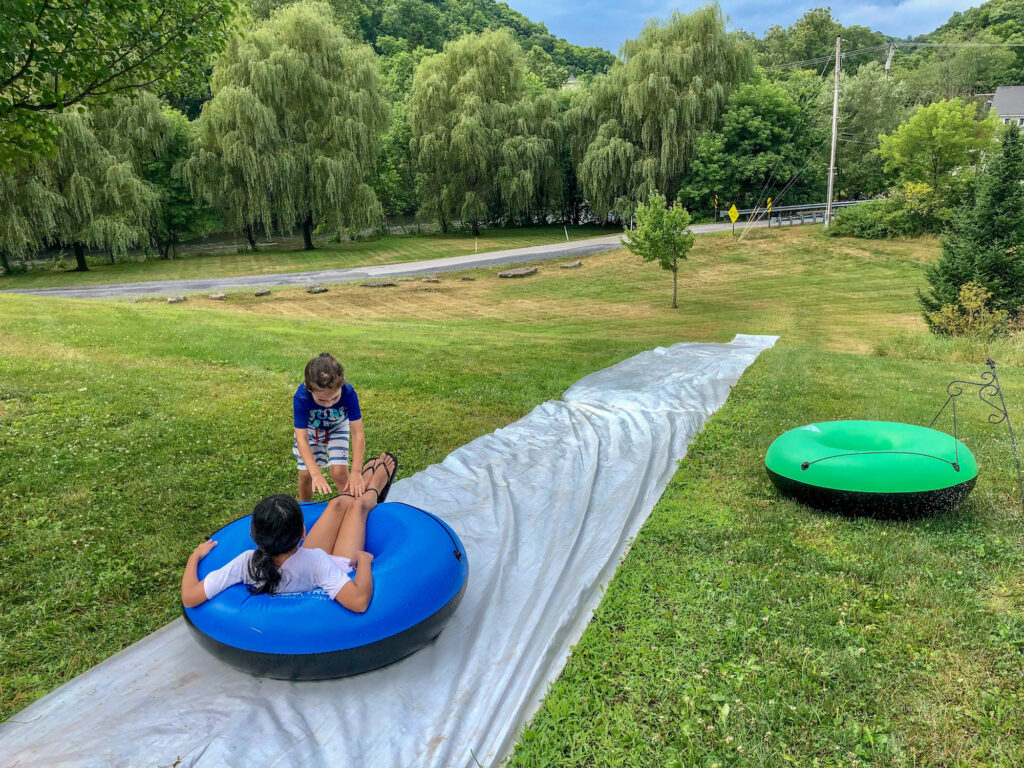 Slip and slide set up at Homewaters in Spruce Creek, Pennsylvania for the kids.