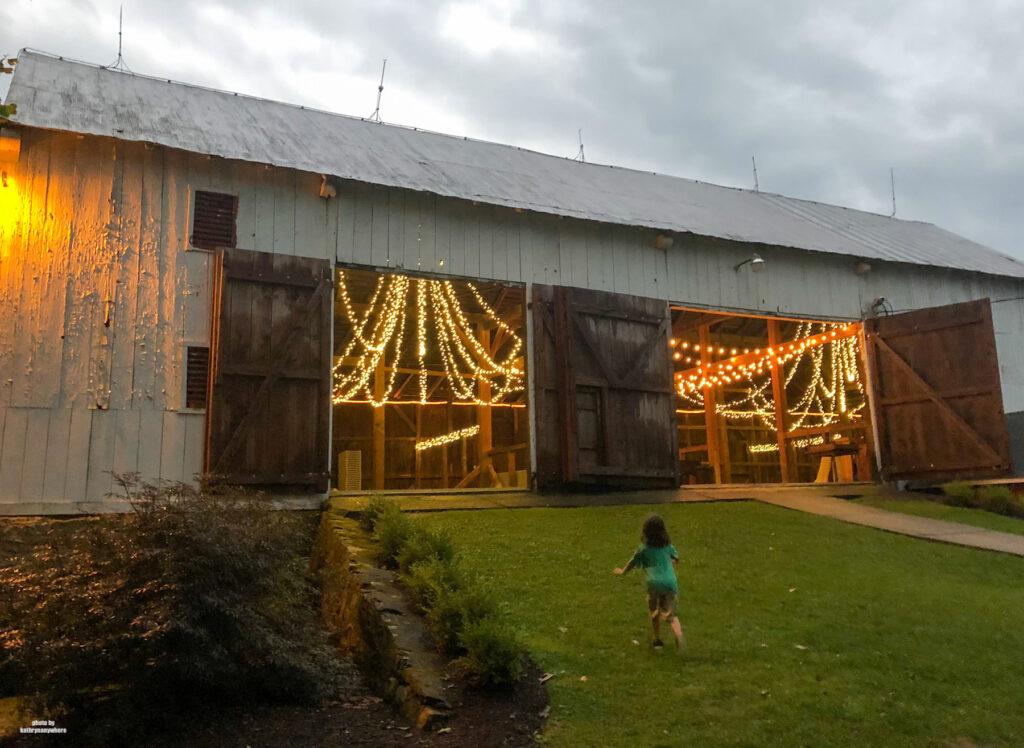 my son running inot the barn Edgewater Inn & Riverside Grille, Huntington County