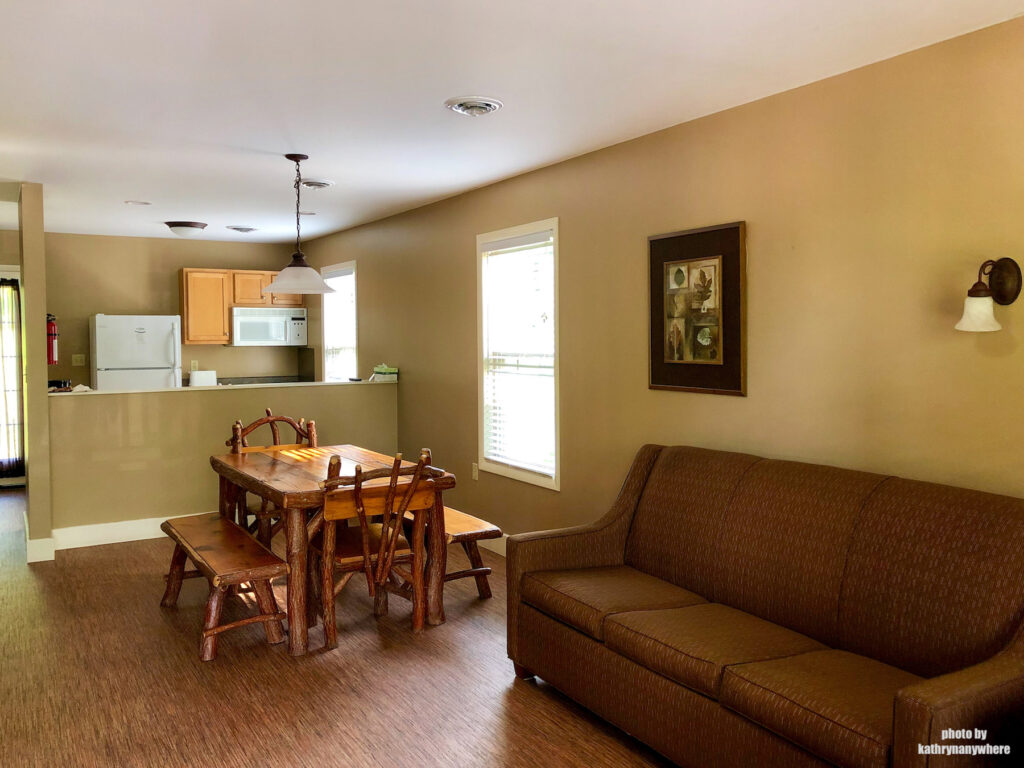 Living room and kitchen inside 2 bedroom cottage at Lake Raystown Resort