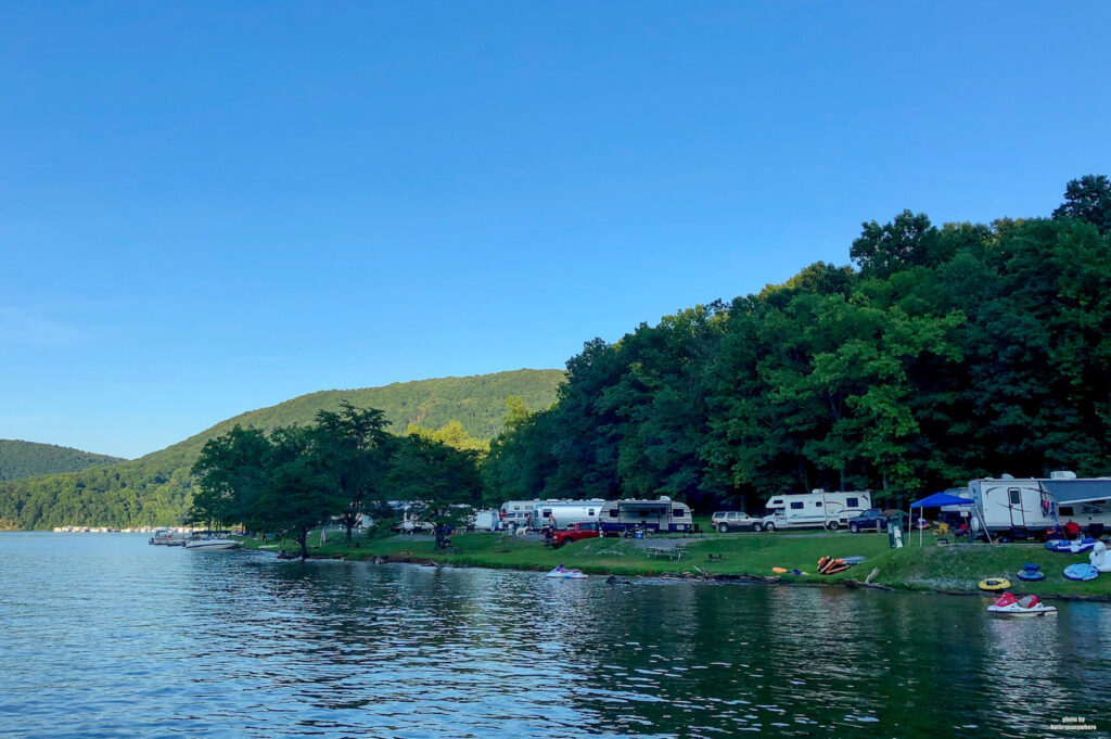 RV sites at Lake Raystown Resort as seen from the water