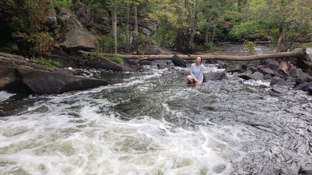 Swimming hole in the midst of the wild and slippery High Falls off Eel's Creek.