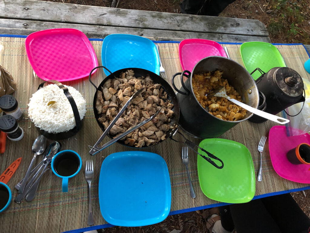Huge group meal of butter chicken prepared by our guide, Andrew from The Land Canadian Adventures on the Serpentine Loop in Kawartha Highlands Provincial Park.