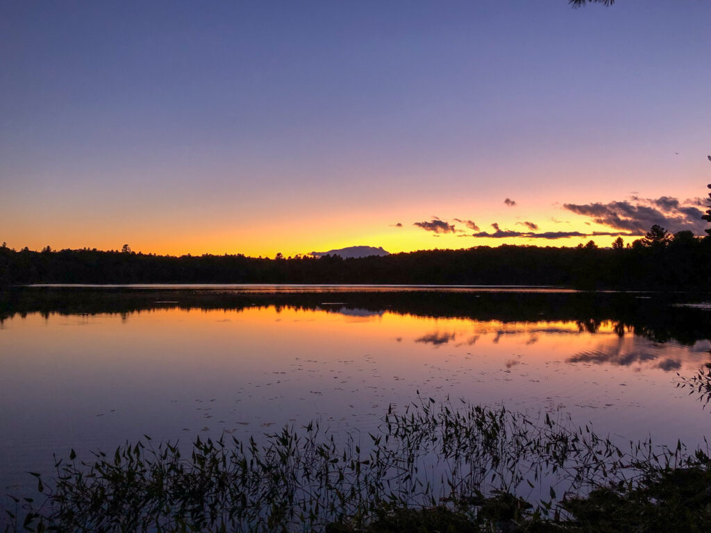 sunset on north rathbun lake in kawartha highlands provincial park
