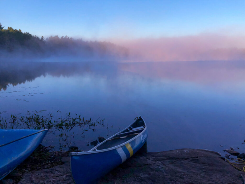 Morning at camp on North Rathbun lake in Kawartha Highlands Provincial Park