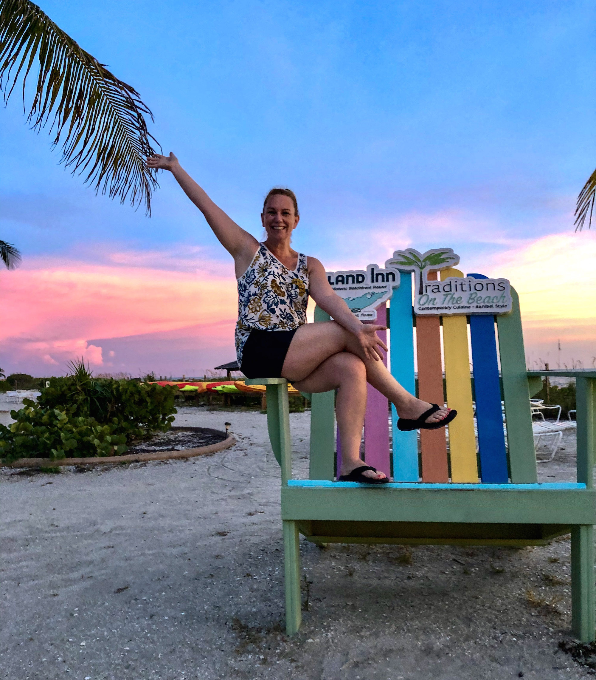 KathrynAnywhere in an oversized chair, very excited for a photos atIsland Inn on Sanibel Island.
