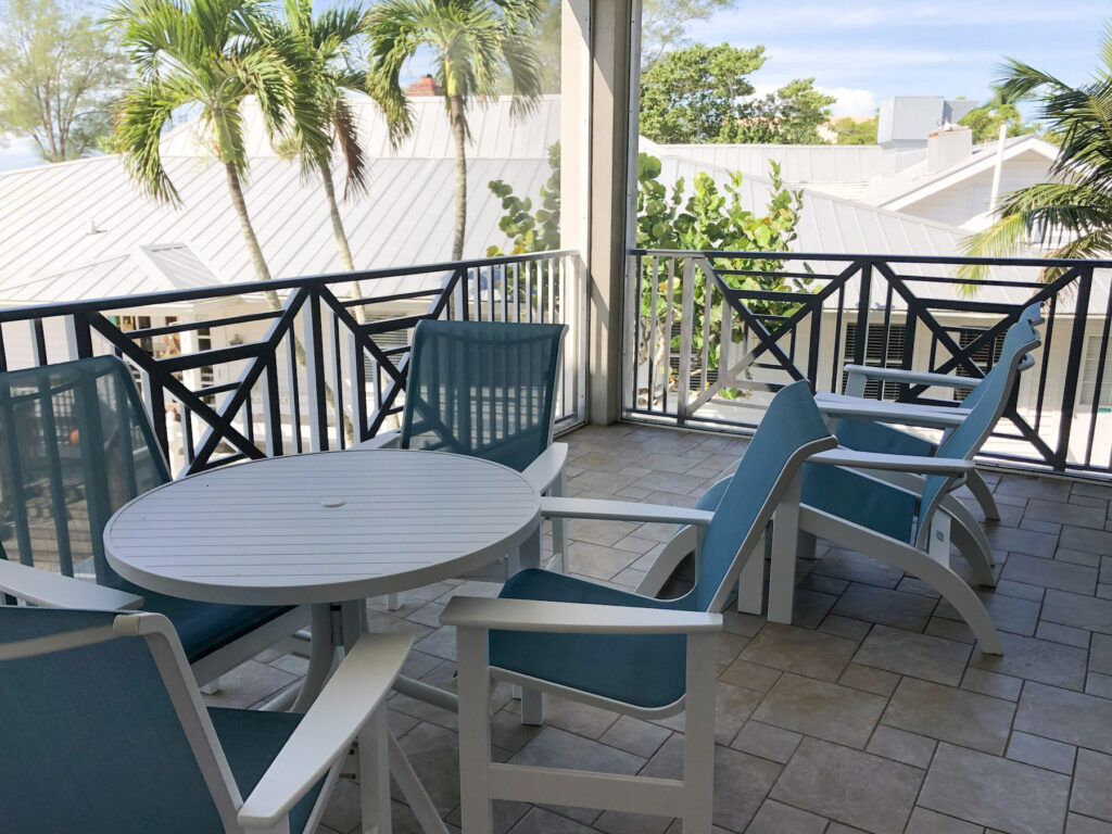 Island Inn Screened in balcony from our Matthews Lodge Gulfview Luxury Suite