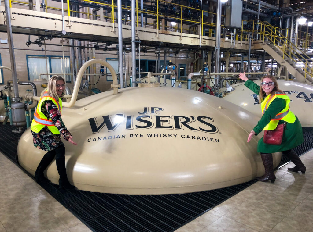 Kasia and I on the J.P. Wiser's Experience Hiram Walker Whisky Tour. We are inside where 80% of the whiskey in Canada is made.