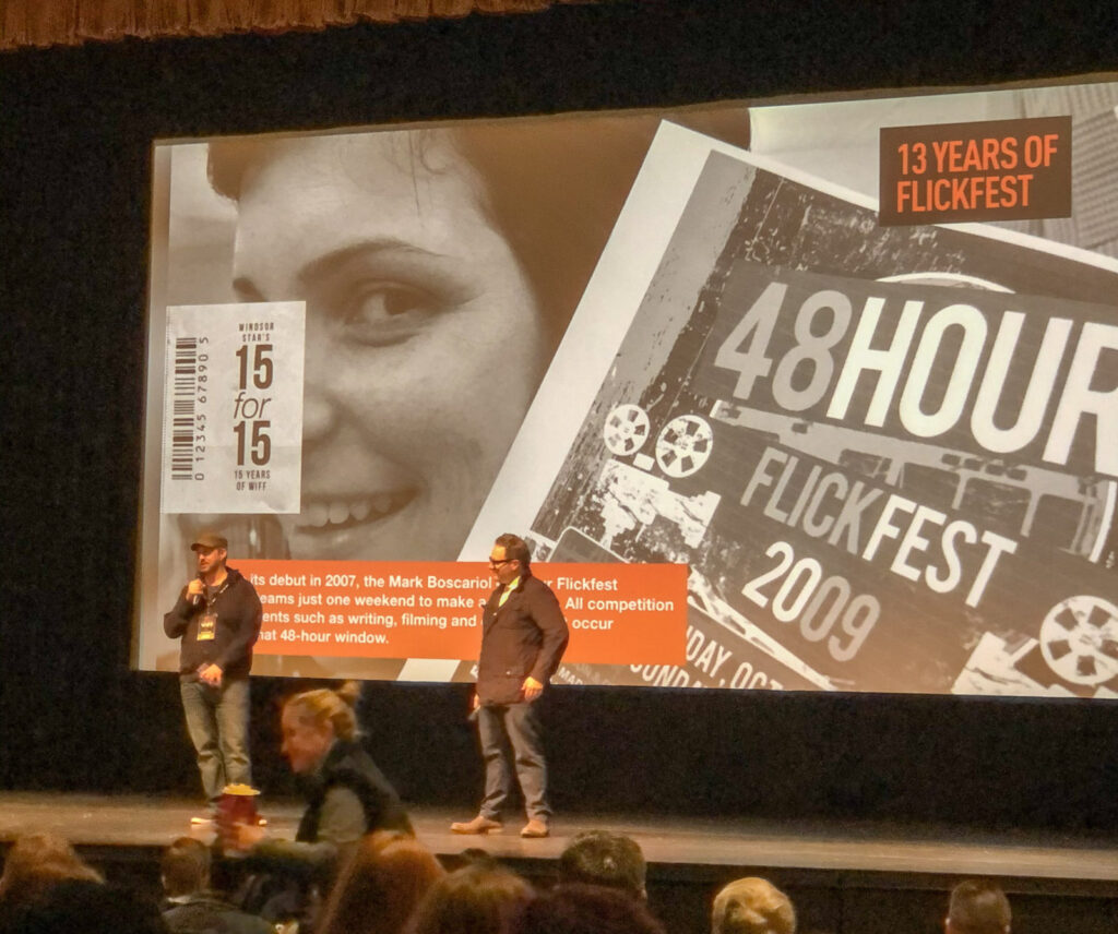 Windsor's Gavin Michael Booth, director of Last Call on stage answering questions after the screening of his film at the Windsor Film Festival on Saturday, November 2, 2019.