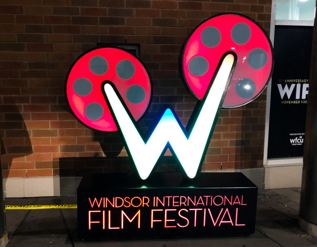 Windsor International Film Festival marquee sign just outside of St. Clair College in Winsdor.