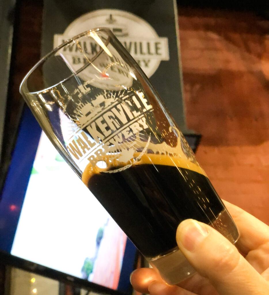Amazing stout beer (red block doppleblock) at Walkerville Brewery, Windsor
