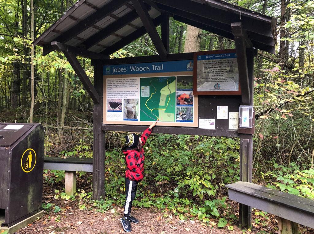 Jobes' Woods Trail signage at trailhead at Presqu'ile Provincial Park