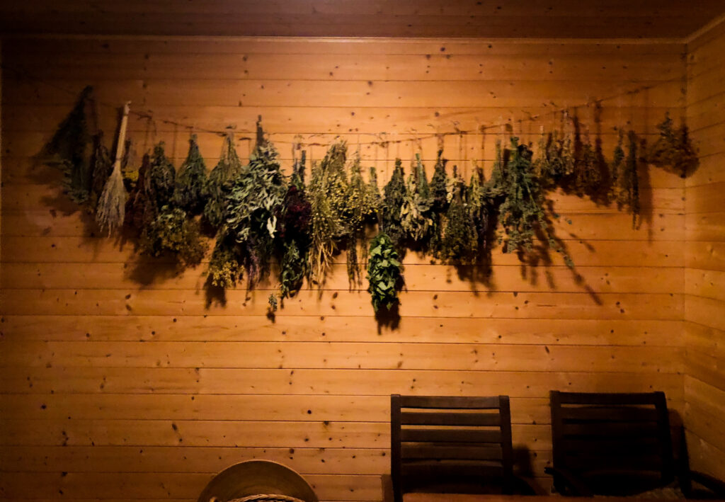 The dried bushes, a whisk, called a slota in Latvia, is used to gently swat the body and stimulate circulation in a sauna.