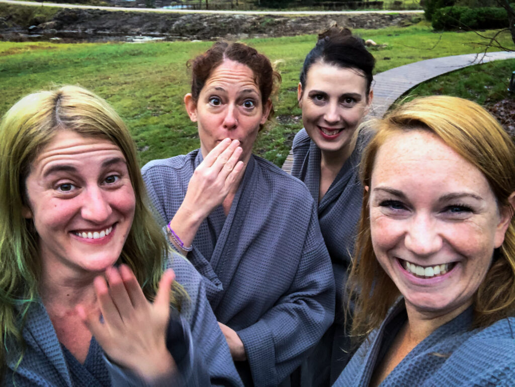 Group selfie of Nora, Inma, Jenna and myself prior post change room, but pre-sauna experience at Spa Hotel Ezeri.