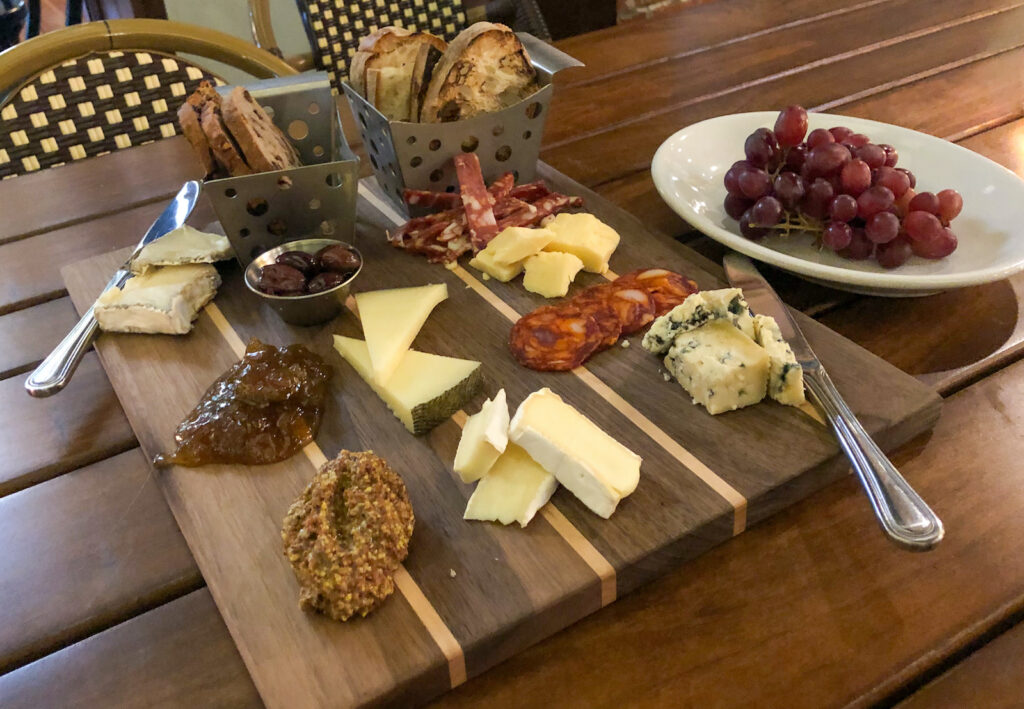Charcuterie board  at the boathouse terrace in Buffalo, New York on the Niagara Wine Trail.