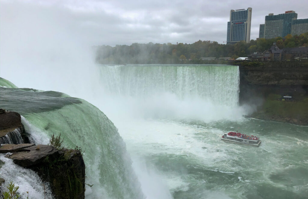 Niagara Falls, New York view of the Falls, Canada and Hornblower.