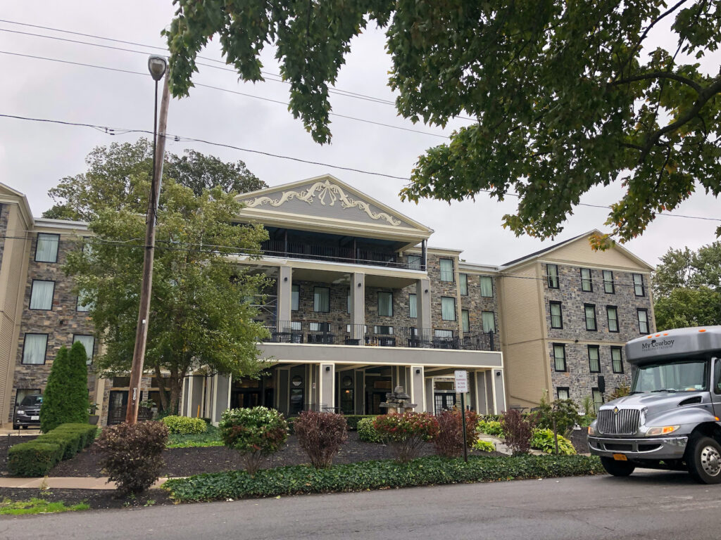 Niagara Crossing Hotel & Spa in Lewiston, NY overlooking the river. Stay here while in Niagara Wine Country.