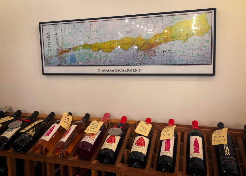 Map of the area mounted on the wall inside of Arrowhead Springs Winery.