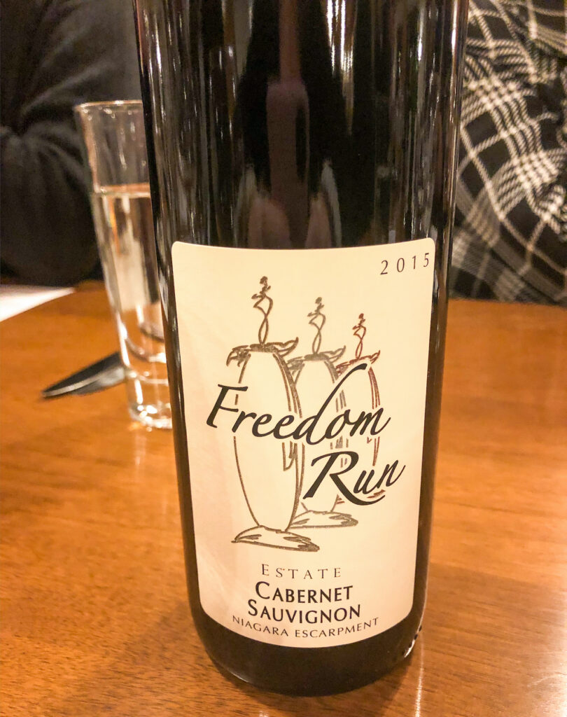 Freedom Run winery Cabernet Sauvignon. Part of Niagara Wine Country, on the Niagara Wine Trail.