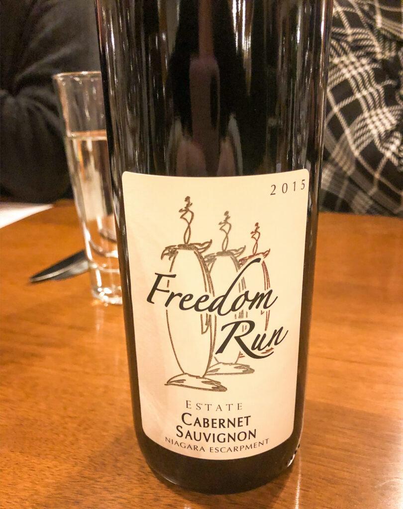 Freedom Run winery Cabernet Sauvignon. Part of Niagara Wine Country, on the Niagara Wine Trail.