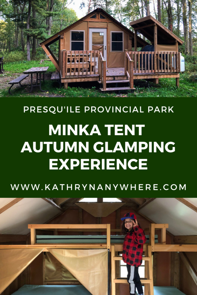 Autumn glamping in a Minka Tent at Presqu'ile Provincial Park, Ontario. The hybrid tent/cabin is prefect for those who want a soft sided shelter and a little bit of comfort in the park #presquileprovincialpark #presquilepp #minkatent #ontarioparks #findyourselfhere #exploreOP #naturelovers #glamping #glampingwithkids #glampingnotcamping #autumncamping #fallcamping #autumnglamping #autumncamping