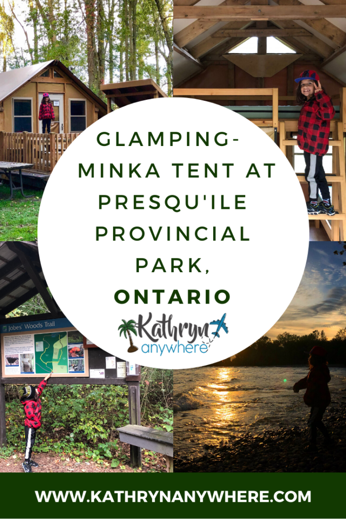 Autumn glamping in a Minka Tent at Presqu'ile Provincial Park, Ontario. The tent has one single mattress in a cool loft and two double mattresses. There is a small table and benches inside for eating and card games. Outside a propane BBQ and mini picnic table are on the deck. The tent is a short walk from a water tap and comfort station #presquileprovincialpark #presquilepp #minkatent #ontarioparks #findyourselfhere #exploreOP #naturelovers #glamping #glampingwithkids #glampingnotcamping #autumncamping #fallcamping #autumnglamping #getoutside #getoutstayout #wildernessculture #optoutside