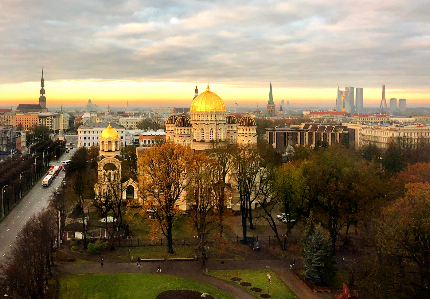 Sunrise, facing the old city of Riga, Latvia, November 2019. Taken from my hotel room at the Radisson.