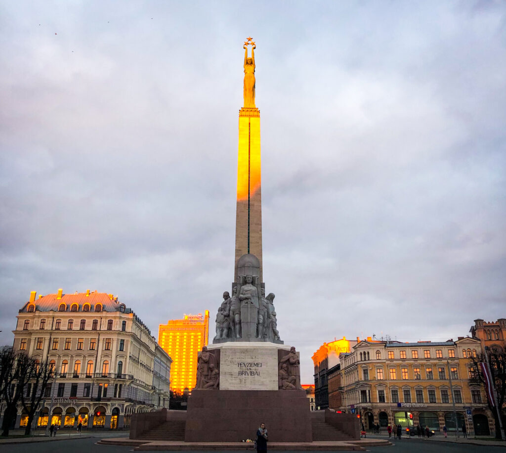 Brīvības piemineklis - the 'Freedom Monument - is is the most important landmark, the symbol of Latvian independence and statehood. She holds aloft three stars indicative of the three historical districts of Latvia.
