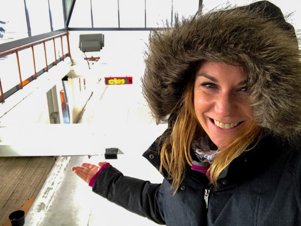 selfie at the top of the bobsled and luge track