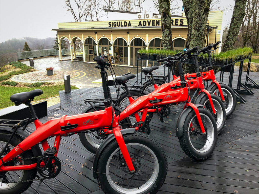 Motorized Smart bikes you can rent to tour around the town of Sigulda with