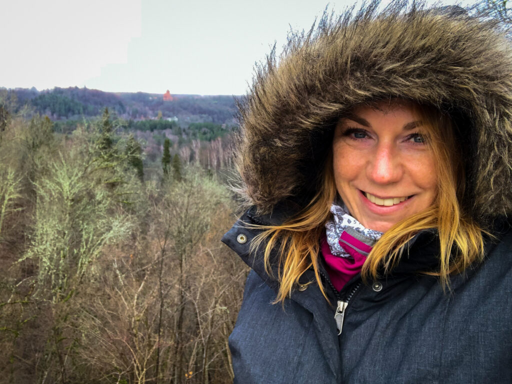 Selfie of me overlooking the Gauja Valley from the ruins of Sigulda Medieval Castle in Latvia