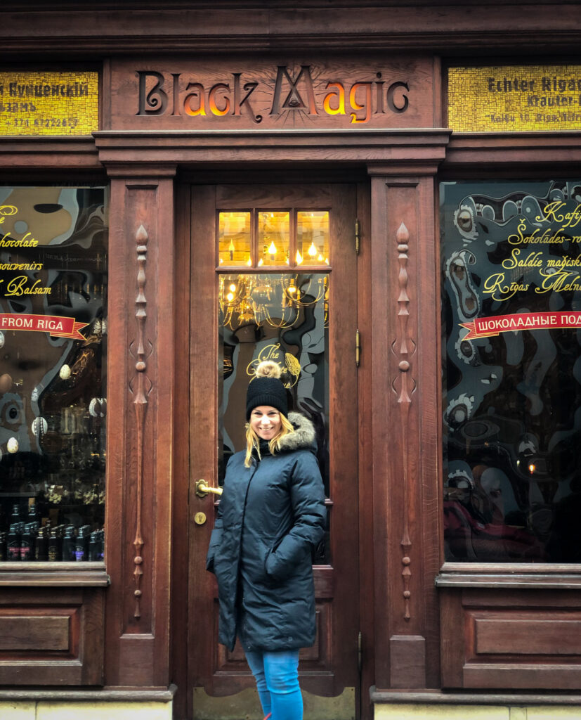 The Black Magic Bar in Riga is a cafe setting and confectionary, sells some pretty amazing chocolate and the Black balsam liquer, which is famous in Latvia. And it's themed with... you guessed it, black magic. Pretty much everything you can buy as a magical and whimsical theme to it.
