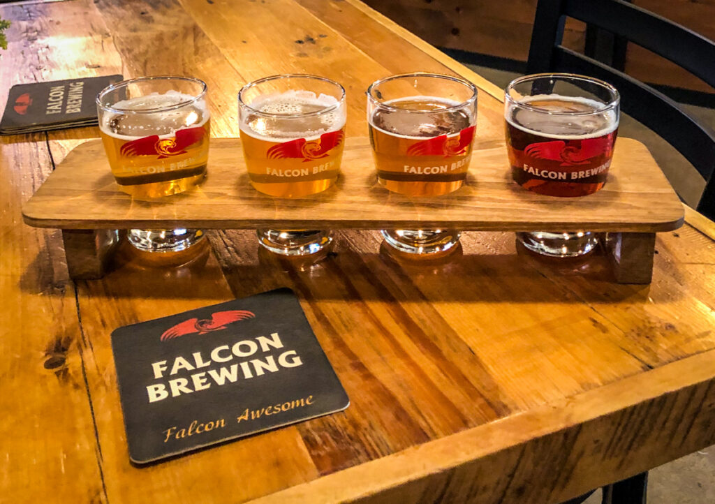 My flight of beer at Falcon Brewing in Ajax, Ontario as part of the breweries in Durham Region you need to know