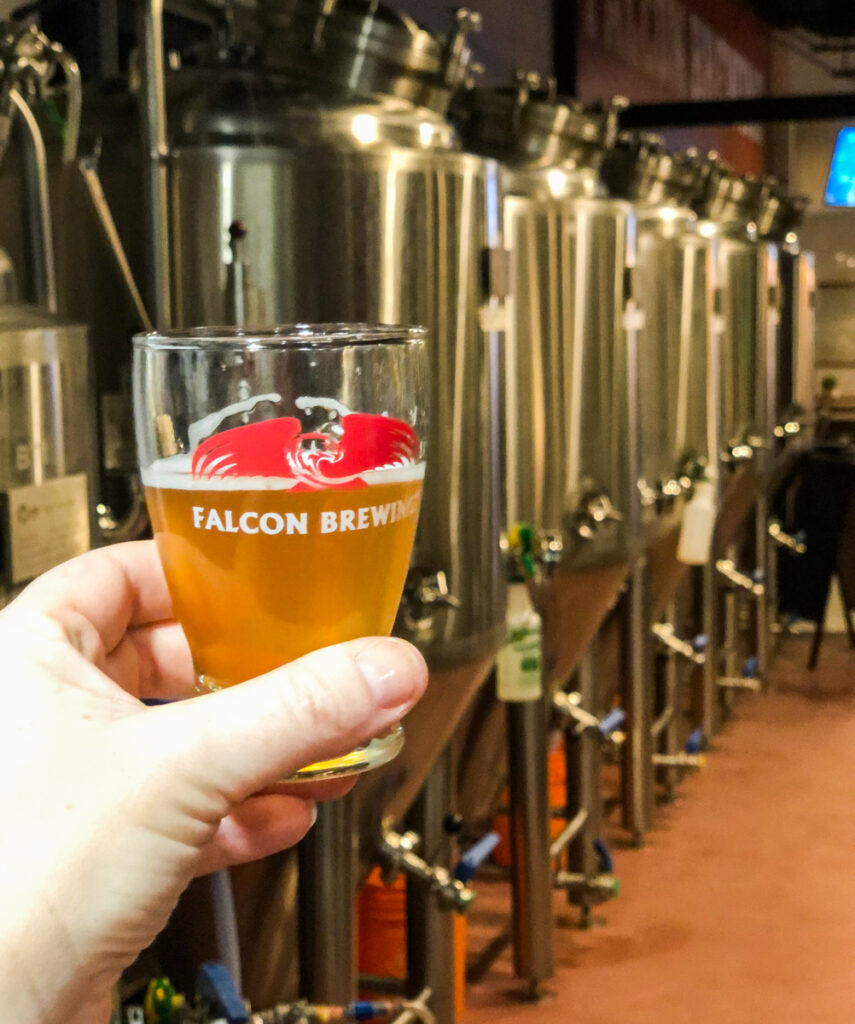 In the fermenting room of Falcon Brewery
