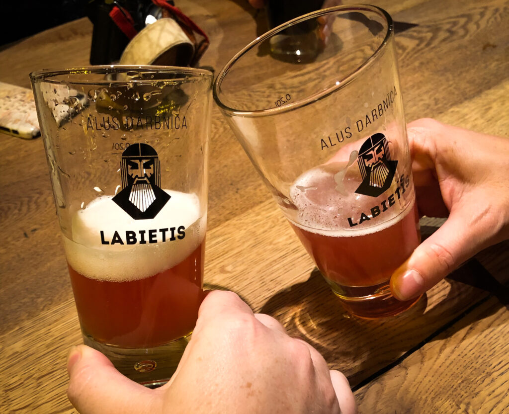 Cheers in Labietis in Riga Latvia on a beer tour