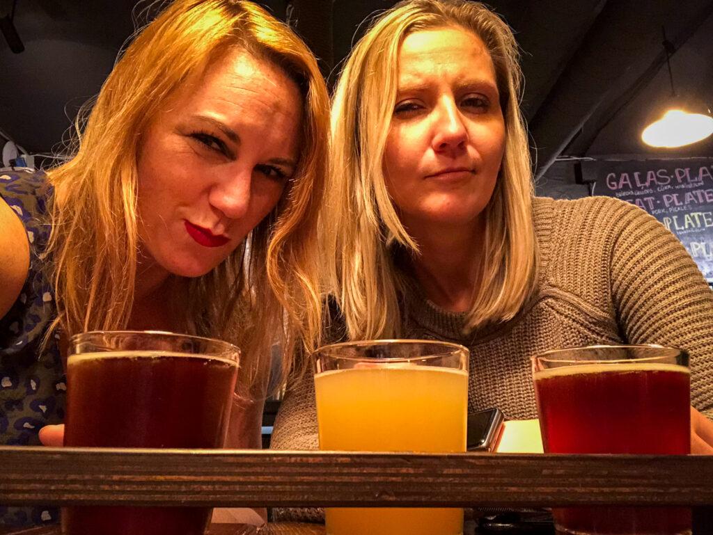 Kasia Writes and I enjoying our beer tour of Riga