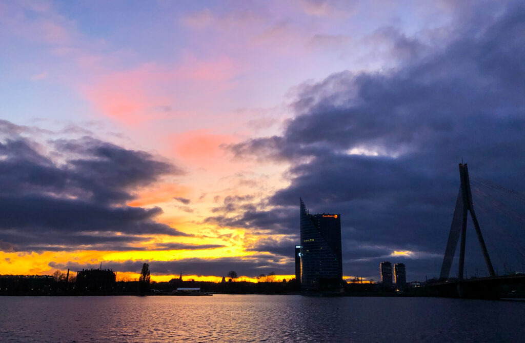 Things to do in Riga? Catch the sunset on River Daugava