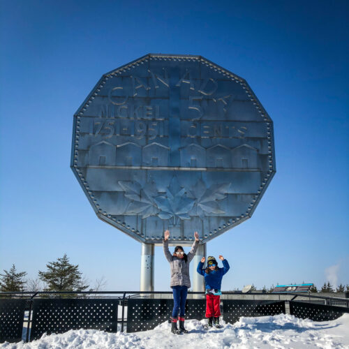 Big Nickel at Dynamic Earth in Sudbury, Ontario with my kids