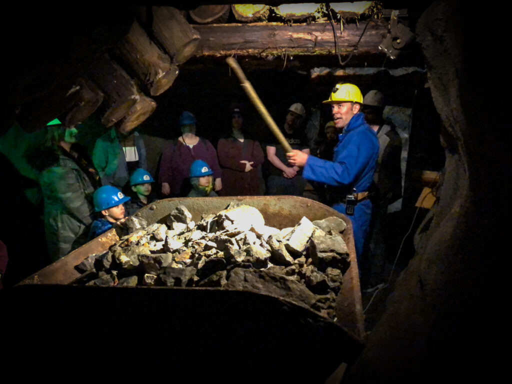Inside Dynamic Earth mine tour, in the Sudbury Rocks... for families this is a long tour, but worth doing.