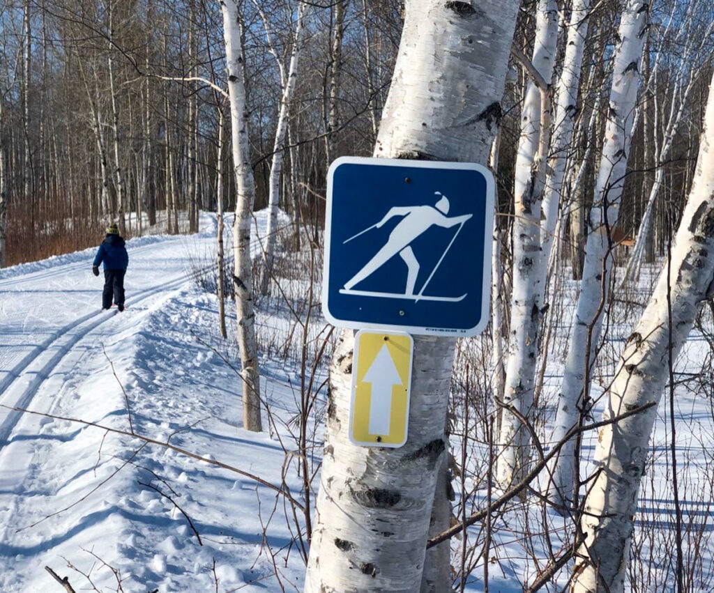 Little Man cross country skiing in Kivi Park, Sudbury