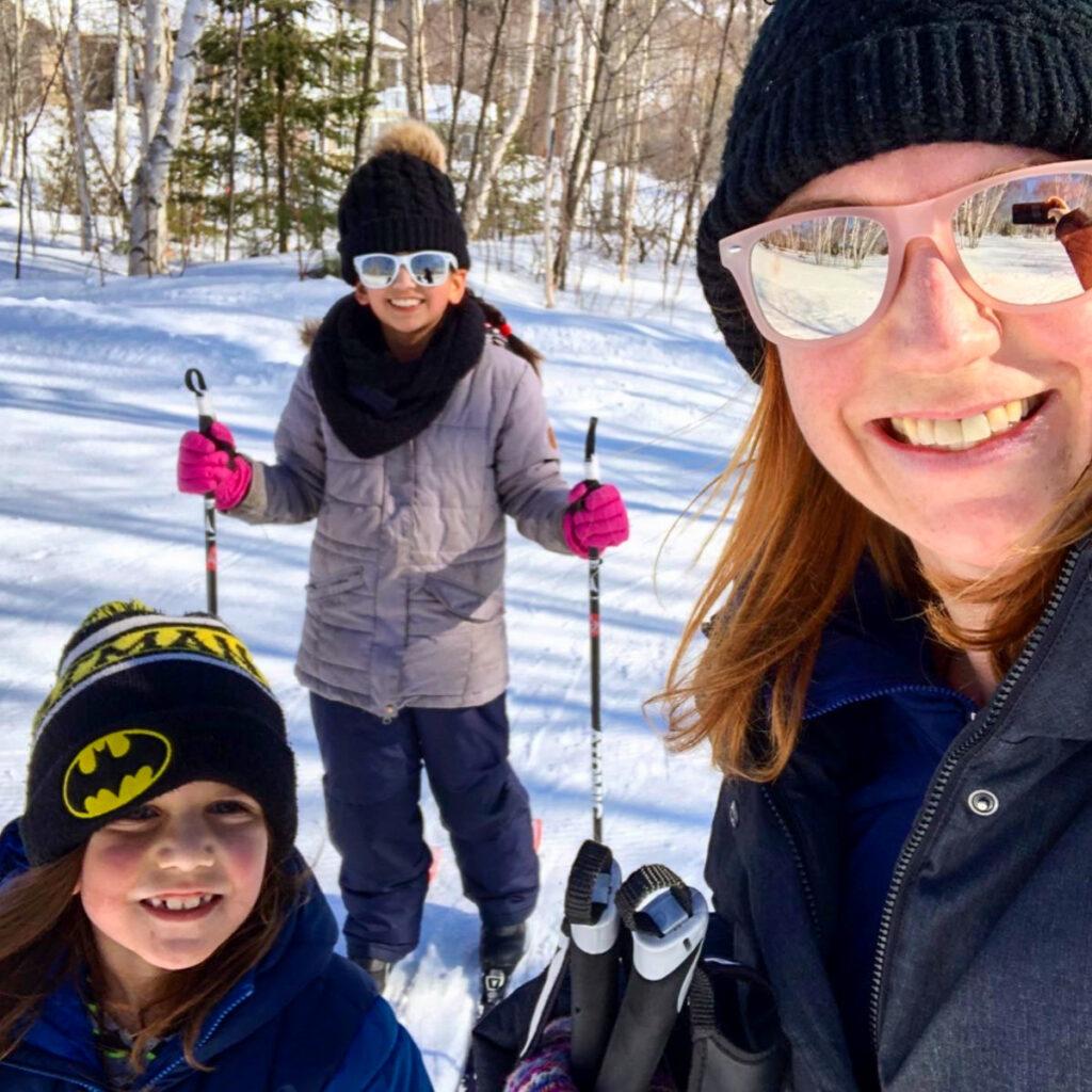 Family selfie while cross country skiing in Kivi Park in Sudbury