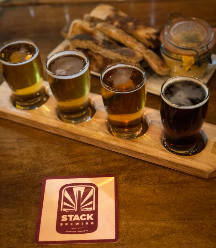 Flight of beer at Stack Brewhouse in Sudbury