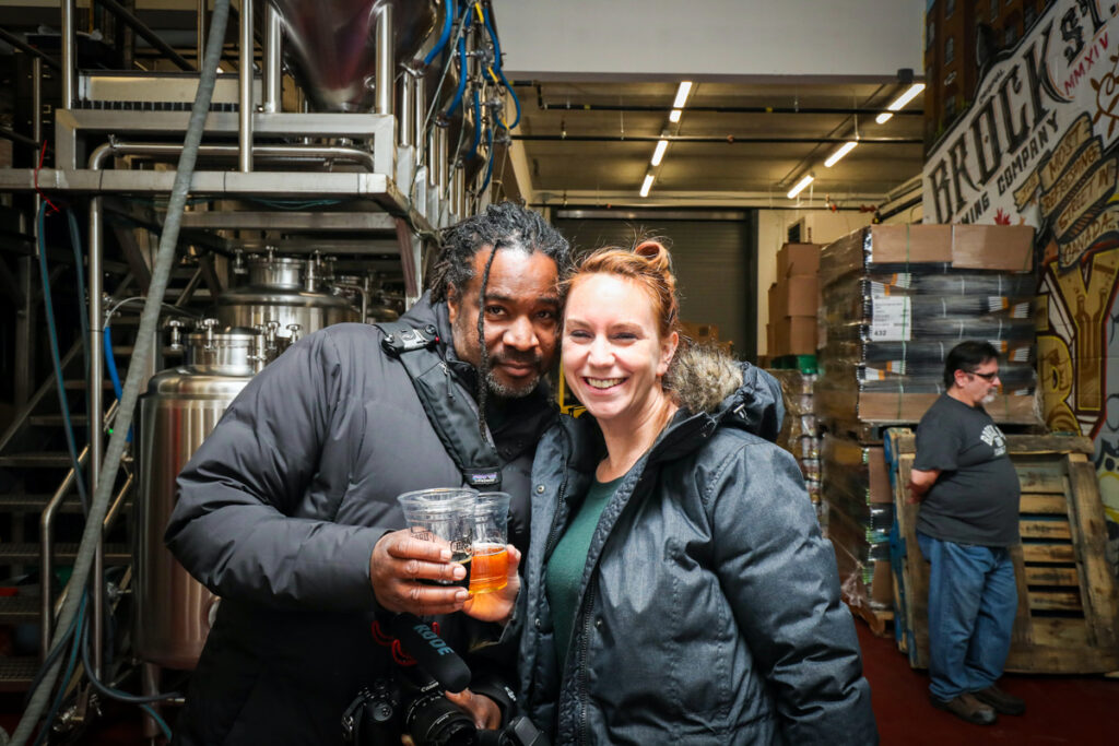 Proof that I had been drinking plenty of beer that night. In Brock Street Brewery with Christopher Rudder of Rudderless Travel