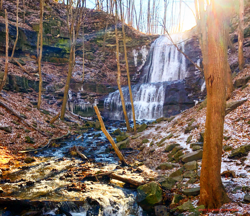 Sherman Falls, Ancaster, Ontario, magic hour pre-sunset