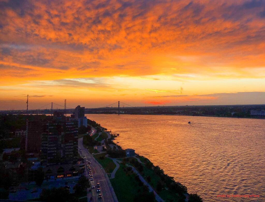 Windsor, Ontario sunset of the Ambassador Bridge