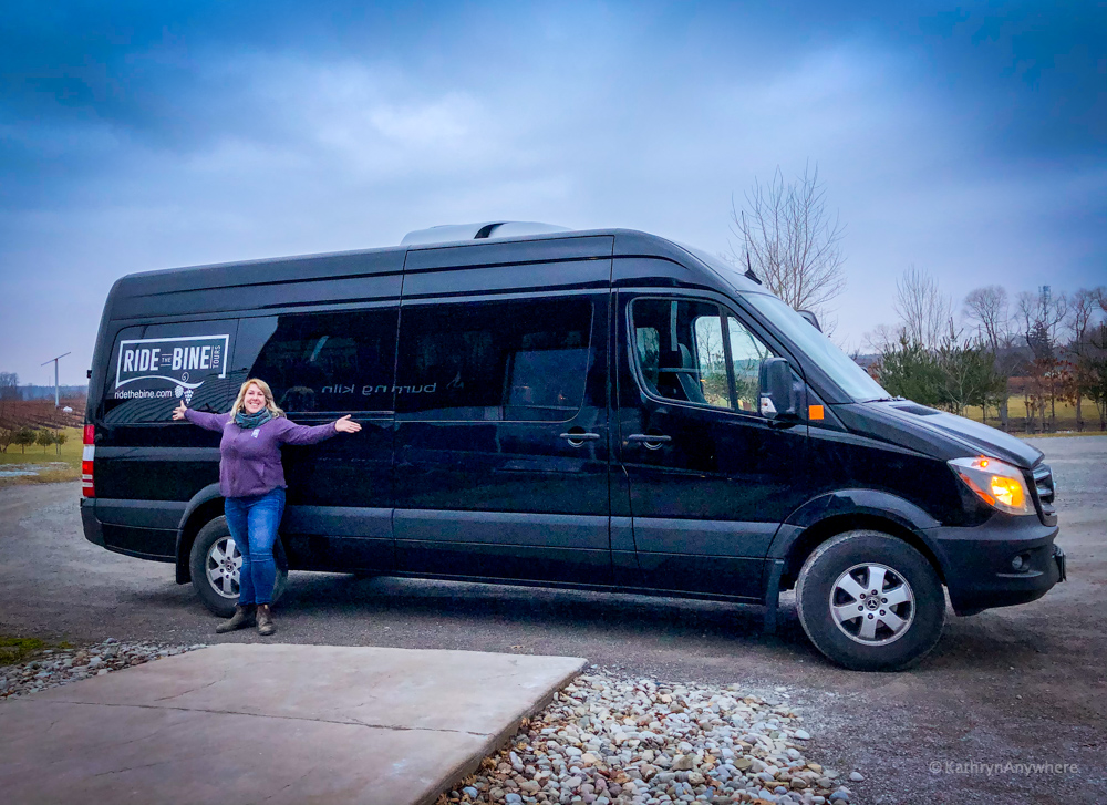 Ride The Bine wine, beer and cider tours in Norfolk County - Tour host Amanda and her Mercedes Benz Sprinter Van