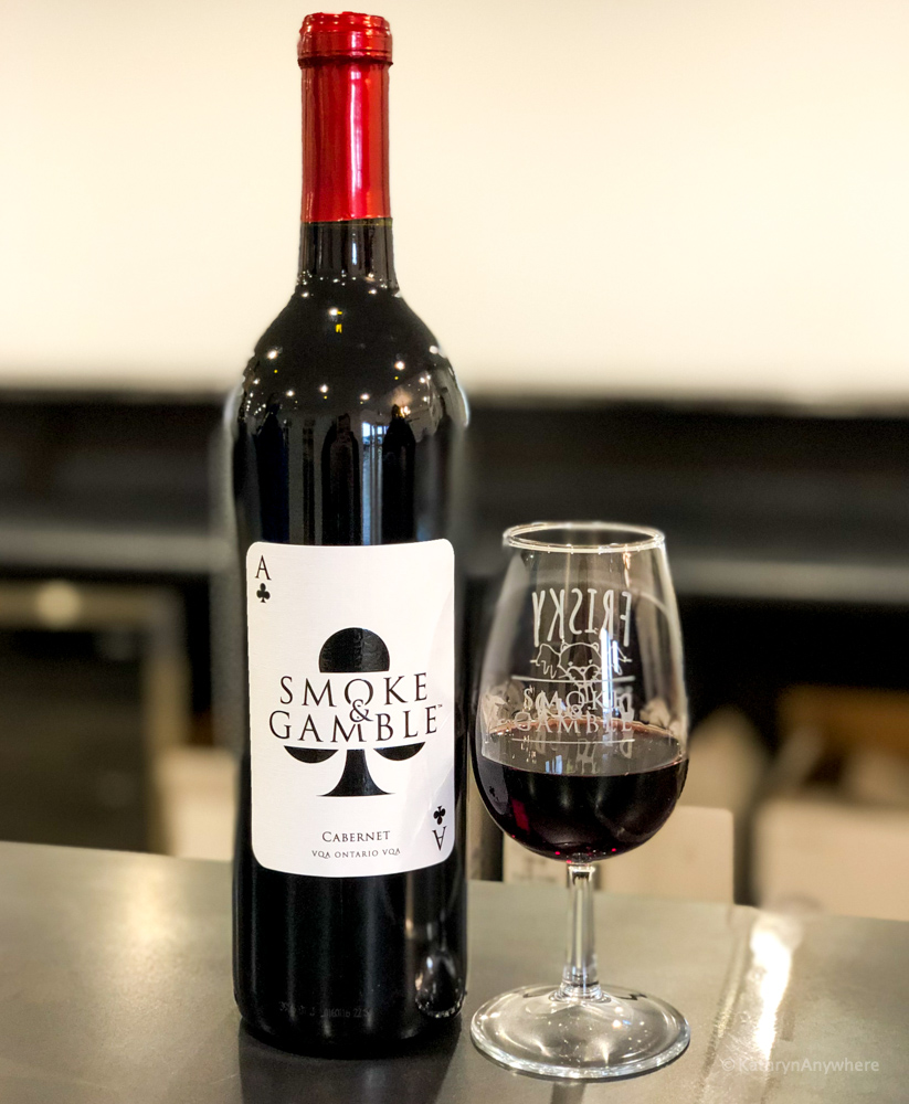 Smoke and Gamble Cabernet wine bottle at Dover 13, winery in Norfolk County. Get to know the wineries for Norfolk County.