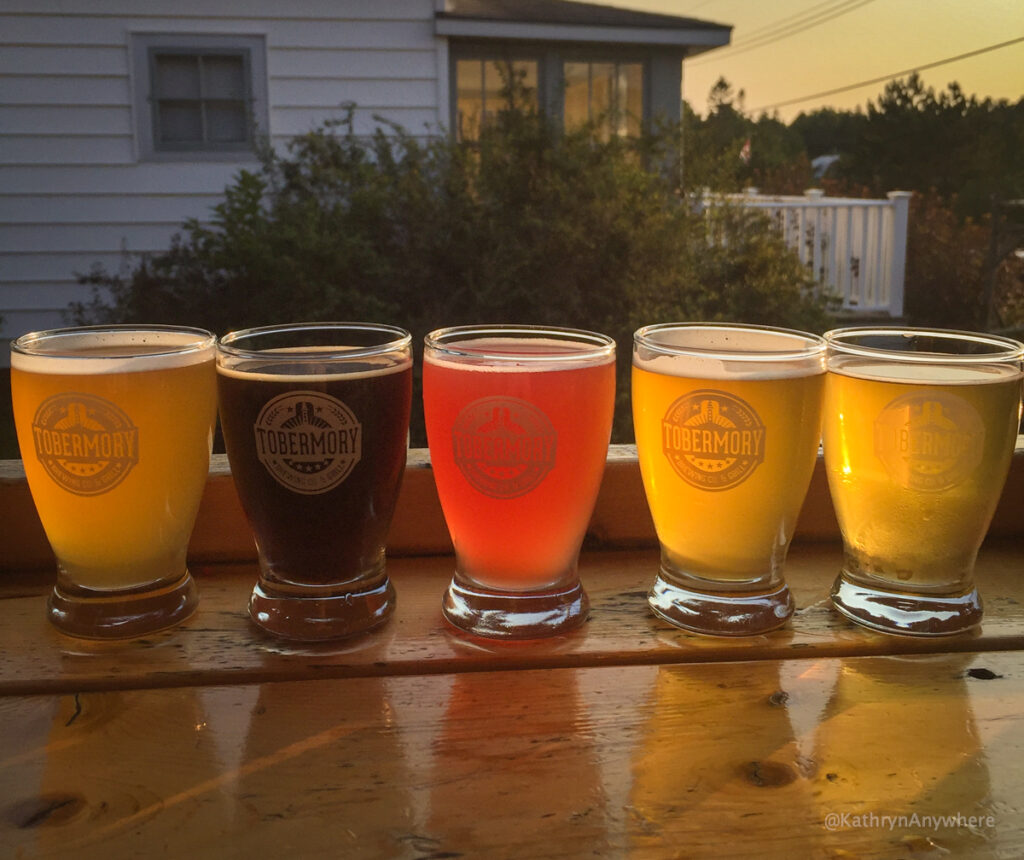 Tobermory Brewery Flight Sampler on the patio facing the sunset