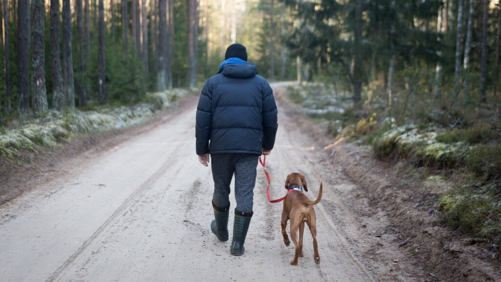 Man wearing rainboots hiking with his dog on a leash