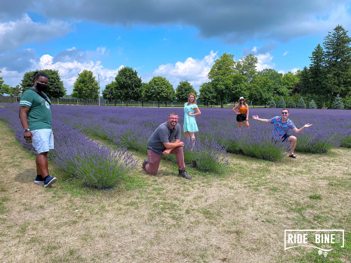 The founders of the Toronto Bloggers Collective in the lavender at Bonnieheath Lavender and Winery
